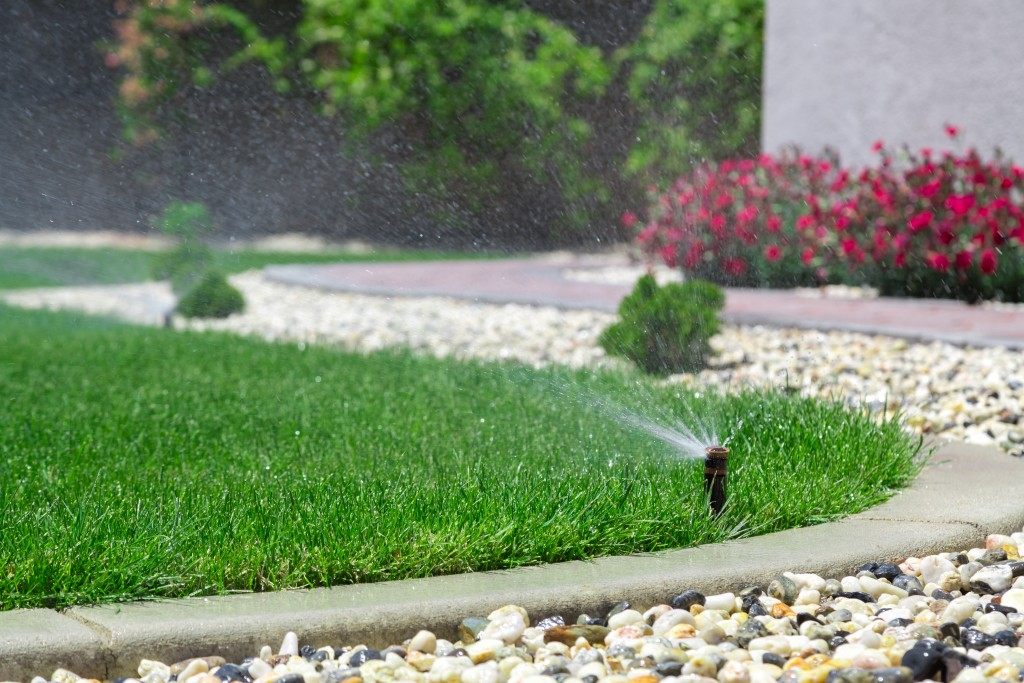 Sprinklers in lawn