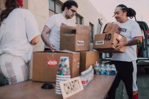volunteers doing charity work