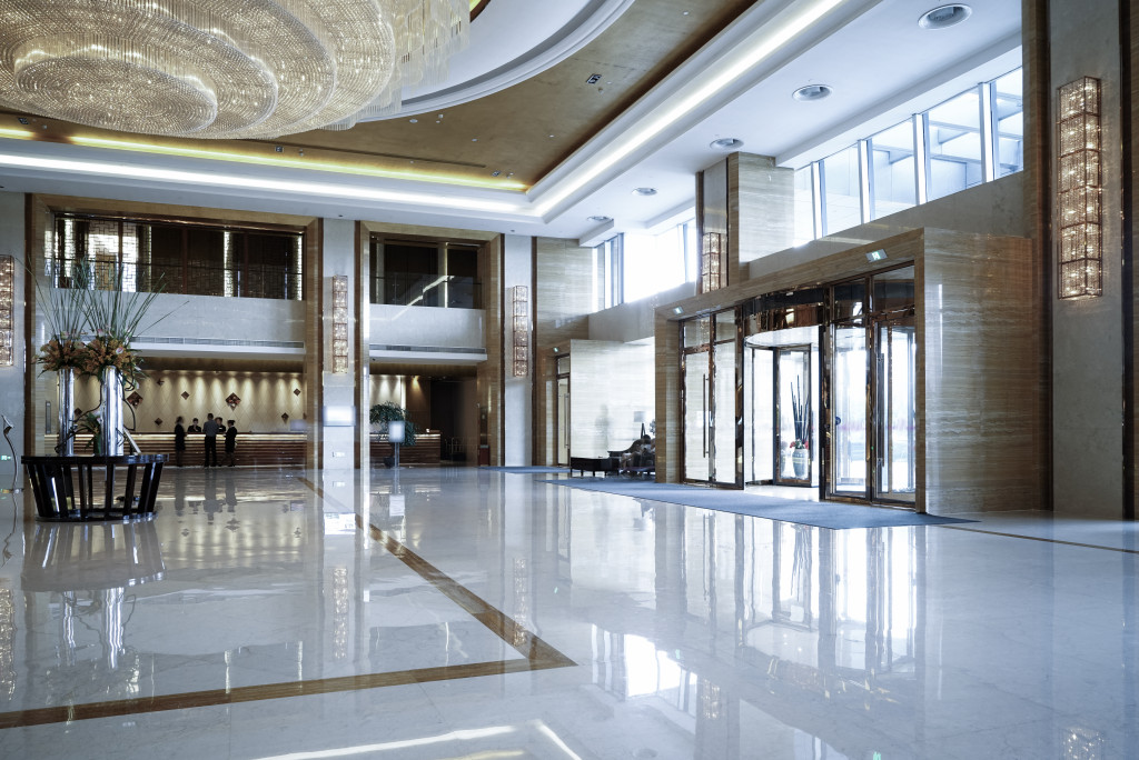 well-lit office lobby